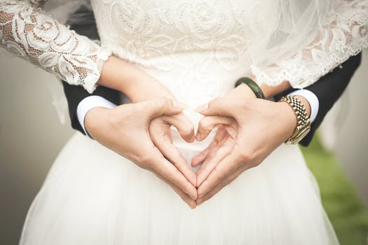 Heart Shaped Hands of Bride and Groom